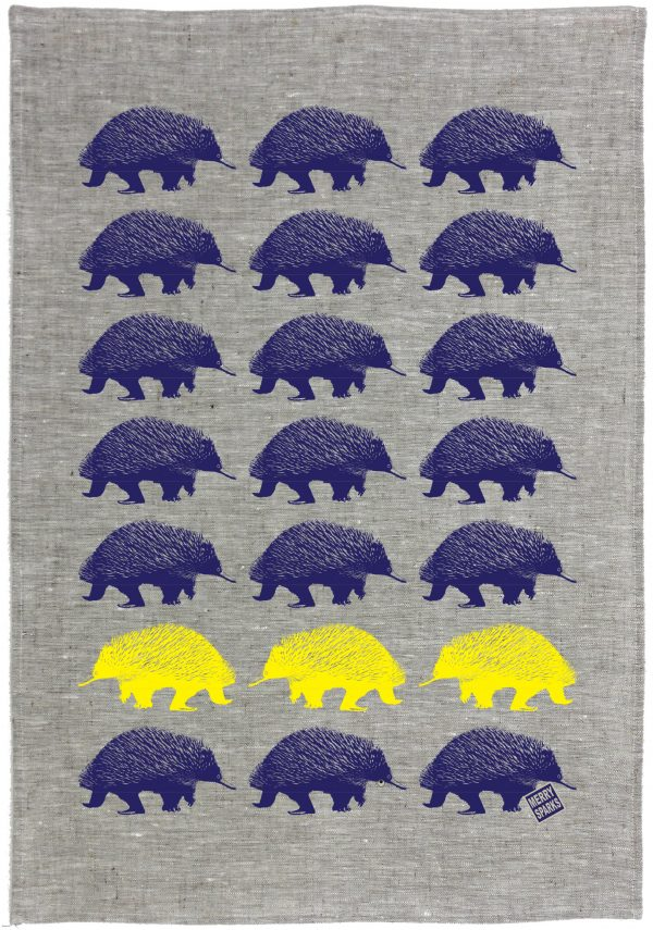 Echidna Linen Tea Towel by Merry Sparks
