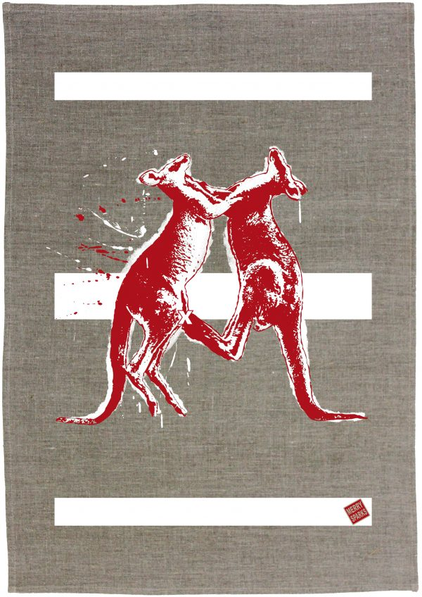 Kangaroos Linen Tea Towel by Merry Sparks