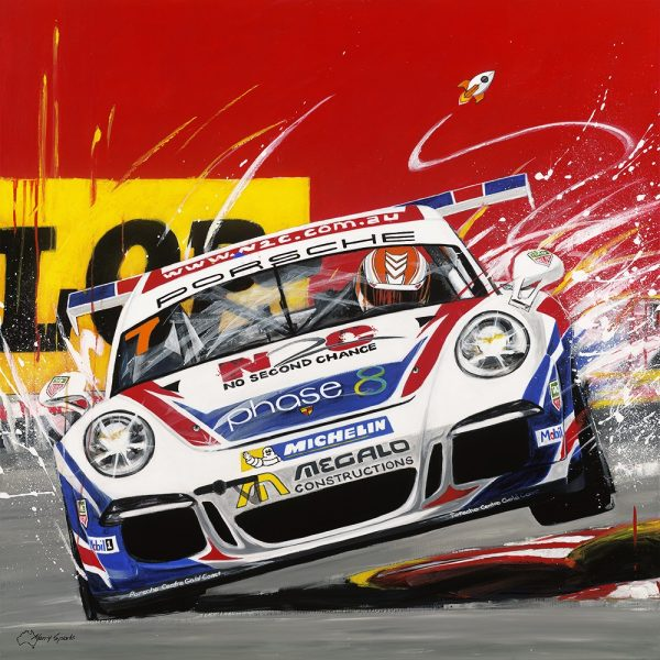 Beachside Chicane Porsche by artist Merry Sparks