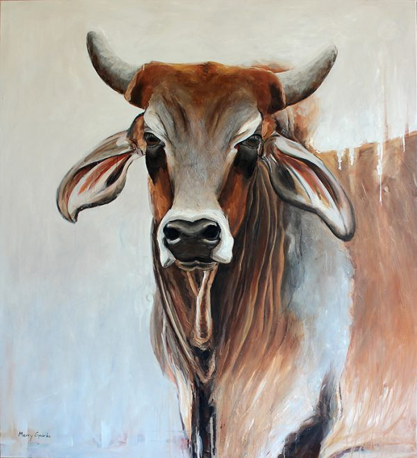 Lampung Lad brahman bull painting by Merry Sparks