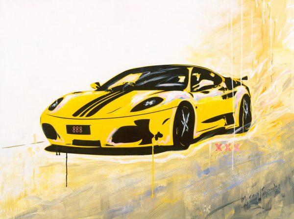 My Speed Yellow Ferrari by artist Merry Sparks