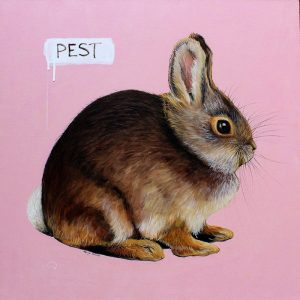 Pest bunny rabbit painting by Merry Sparks
