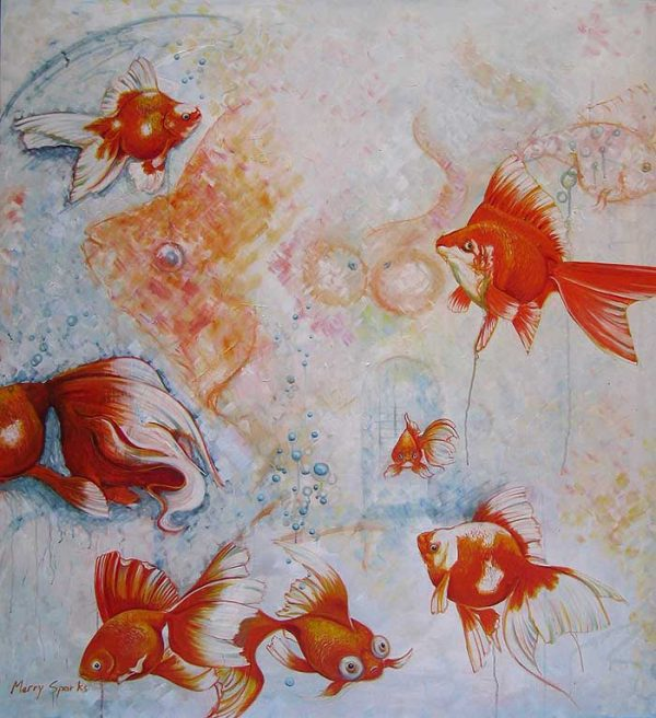 A Fetish For Fantails fish painting by Merry Sparks