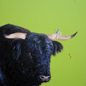 Frantic Exit bull painting by Merry Sparks