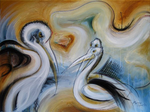 The Pelicans Of Lake Eyre painting by Merry Sparks
