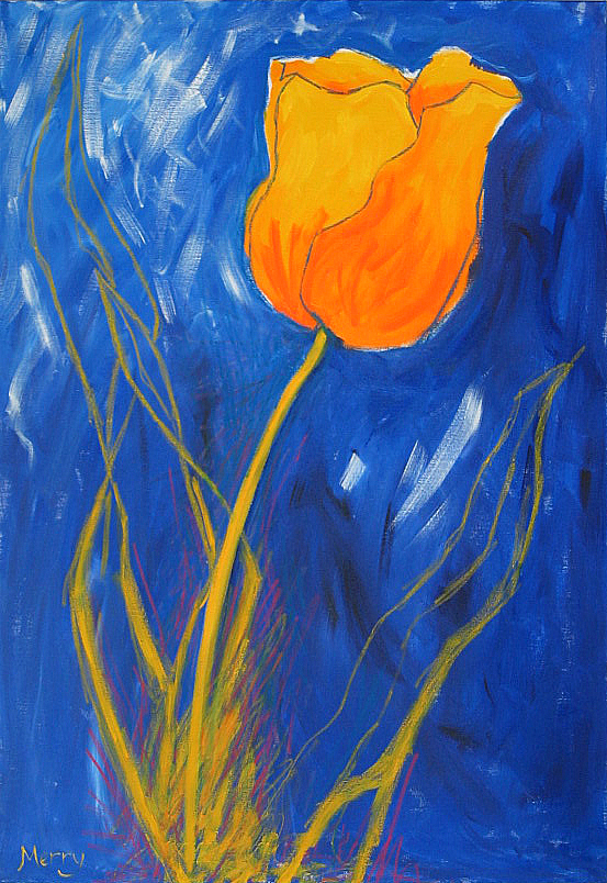 Yellow Tulip on Blue flower by Merry Sparks