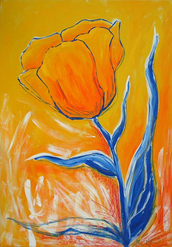 Yellow Tulip On Yellow flower by Merry Sparks